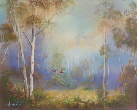 In the clearing. 40 x 50cm oil painting on canvas by professional Australian artist Wayne Clements. Painting with gums trees and flying galahs.