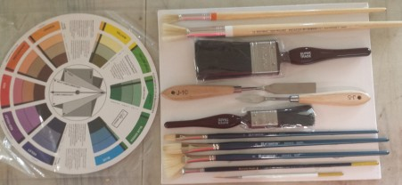 """Wayne Clements Painting Tool Set - includes Canvas board, Colour Wheel, Painting Knife, Mixing Knife, 1"""" brush, 2"""" brush, 2 x filbert brushes, 2 x fan brushes, 2 x Round Moon brushes and Liner brush."""