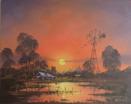 Windmill Sunset 40 x 50cm oil on stretched canvas, ready to hang. Painted as Episode 5 of Luv 2 Paint