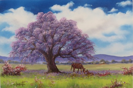 Under The Jacaranda. Luv 2 Paint Episode 27/8. 40 x 60cm oil on canvas by Wayne Clements. Unframed $695.00 Framed $875.00
