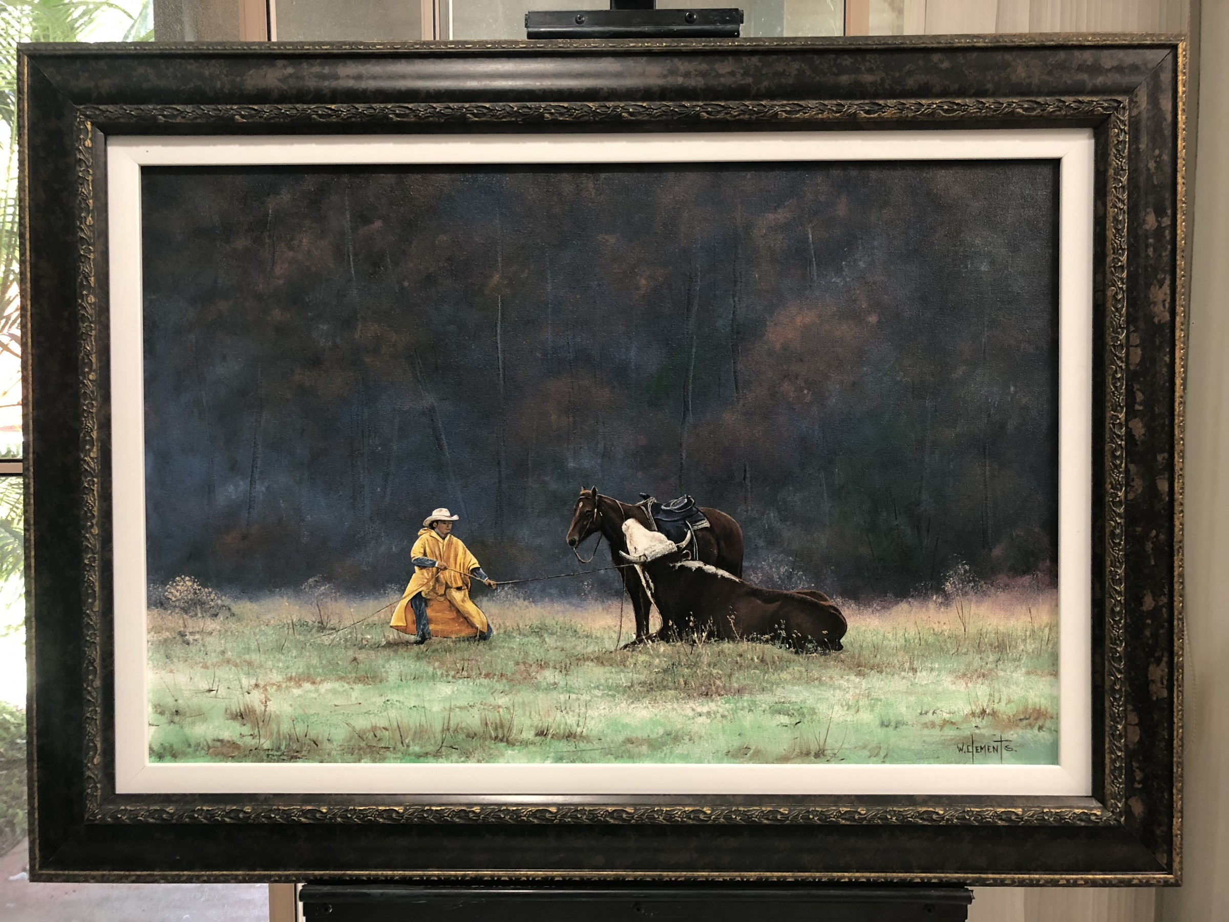 Commissioned Oil Painting of Cowboy with Horse and Bull