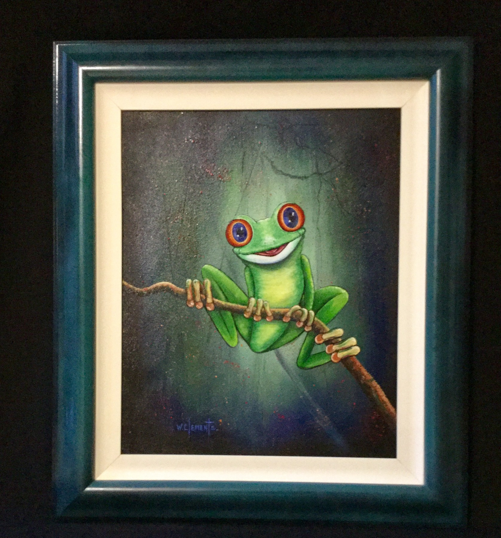 Commission oil painting of frog